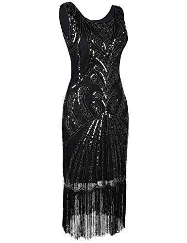 PrettyGuide Damen 1920er Vintage Charleston Art Deco Inspiriet Flapper Cocktailkleid Schwarz