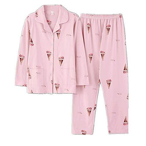 Wsxxnhh Girl Ice Cream Spring Autumn Pajamas Cotton Long Sleeve Set Sweet Cute Casual Cardigan Princess Home Service
