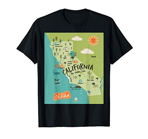 Kalifornien Karte Golden Sunshine State  Hippie Geburtstag T-Shirt