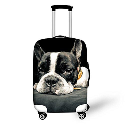Gopumchy Weiße-schwarze Bulldogge 3D bedruckte Cover Gepäckabdeckung Koffer Abdeckung für Reisegepäck deckt Schutzhülle Kofferschutzhülle Gepäck Cover Reisekoffer Hülle Kofferschutz Luggage S(18
