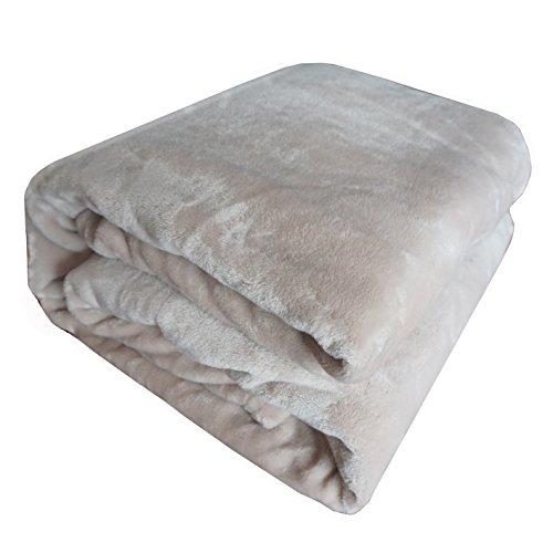 Super suave y cálida sólidos micro felpa manta de forro manta cálida alfombra sofá cama calentamiento en otoño invierno suave y cómodo tocar caliente funda hot, beige, 150 x 200 cm