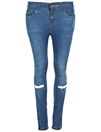 Womens Ladies Regular Full Ankle Length Knee Cut Out Skinny Denim Jeans Trouser Large (UK 12) Light Blue