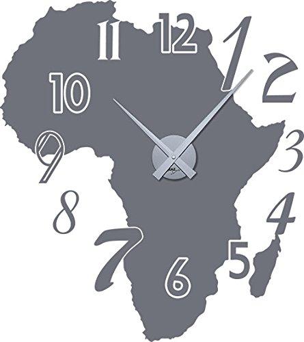 GRAZDesign 800123_SI_071 Wandtattoo Wandaufkleber Uhr Wanduhr für Wohnzimmer Zahlen Afrika Kontinent (64x57cm//071 Grau//Uhrwerk Silber)