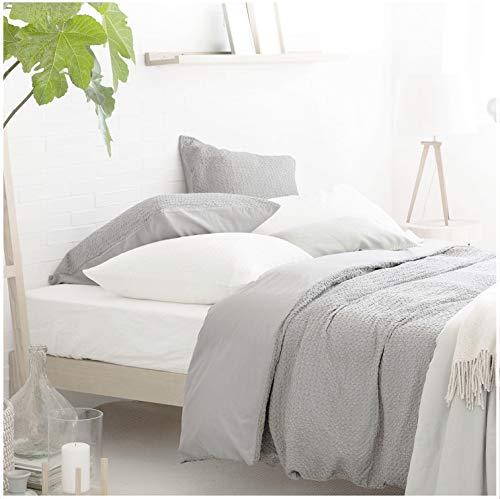 Nicole Miller Home 3Full Queen Preppy Squares Seersucker Bettbezug und Kissenbezüge Set Modern Grau Grau Gerüscht Strukturierte Bettbezug -