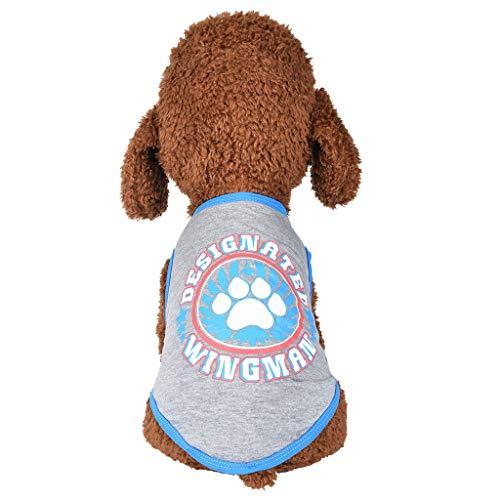 Notdark Hundebekleidung Sommer Drucken Haustier Hund Kostüm Welpen Weste T-Shirt Hund Kleidung Weste Bekleidung (XS,Blau) -