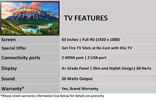 Samsung 108cm (43 Inches) Full HD LED TV with Amazon Fire TV Stick Offer  UA43N5010ARXXL (Black) (2019 model)