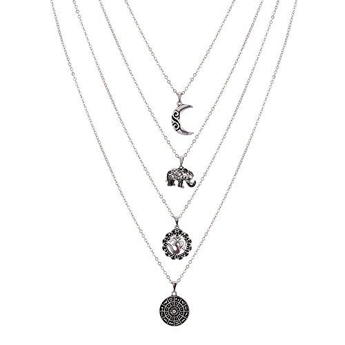 n Dual Layer Elephant Moon Anhänger Halskette Modische Kette Choker Halskette Silber (Benutzerdefinierte Kostüme Für Frauen)