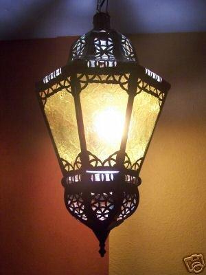 Orientalische Lampe Pendelleuchte Gelb Ksar 53cm E27 Lampenfassung | Marokkanische Design Hängeleuchte Leuchte aus Marokko | Orient Lampen für Wohnzimmer Küche oder Hängend über den Esstisch Elektrische Lampe