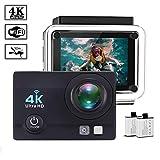 Action Kamera - VGROUND Wasserdicht 16MP Ultra Full 4K HD WiFi Unterwasser 30M Helmkamera Sport Cam mit 2.0 '' LCD-Bildschirm 170 ° Weitwinkel und 2 Batterien