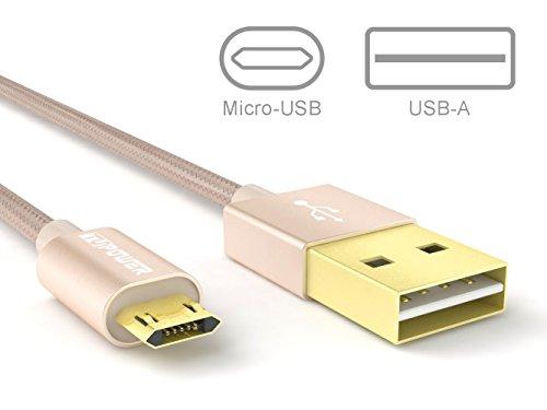2-er-Pack micro USB Kabel BEIDE SEITE verwendbar Samsung Ladekabel Datenkabel Nylonmantell für Galaxy S3 S4 S5 S6 S7 Edge Tablet 4 Android Händy 1m lang in Gold