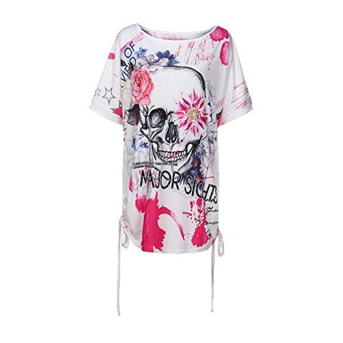OverDose Damen Blumen Spitze Tops Frauen Kurzarm V-Ausschnitt Spitze Gedruckte Lose T-Shirt Bluse Oberteile Tees Shirt(X-c-Pink,4XL)