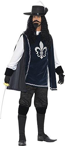 Smiffys 43415M - Musketier Male Kostüm mit Zylinder Navy Handschuhe Überstiefel Bart und Tash (Musketiere 3 Kostüm)