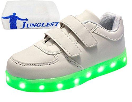 (Present:kleines Handtuch)JUNGLEST® Kinder Jungen Mädchen LED Schuhe Leuchtend Sneaker Farbwechsel Fluorescence Turnschuhe Sportsschu Weiß
