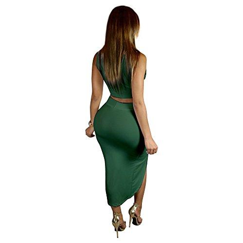 JOTHIN 2017 Femmes Gilet Jupe Sets Serrés Ajourées Sexy Slim Brûlant Fleur Sans Manches Couleur Unie Bandage Jupe (S-XL) Vert