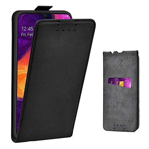 Adicase Galaxy A50 Hülle Leder Tasche für Samsung Galaxy A50 Handyhülle Flip Case Schutzhülle (Schwarz) Schutzhülle Flip Case