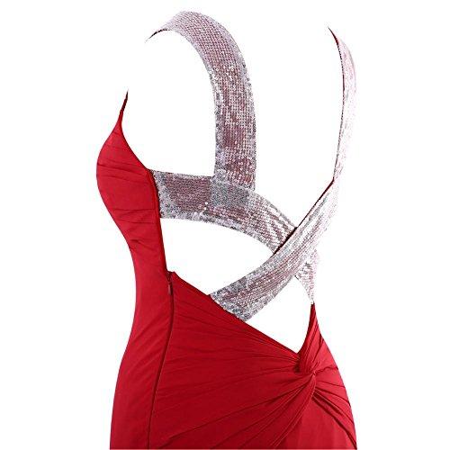 YiYaDawn Langes Meerjungfrau Abendkleid Ballkleid Festkleid für Damen Orange