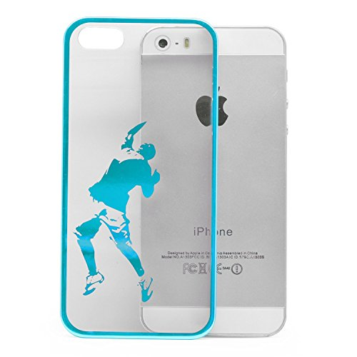 iProtect Schutzhülle Apple iPhone 5, 5s, SE Hülle Walking Dog Edition transparent pink Blau Ball Game