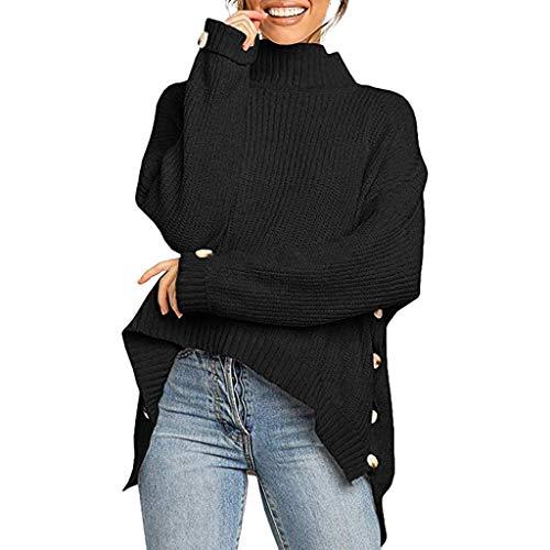 LOLIANNI Frauen Pure Color Langarm Bluse Damen Button Unregelmäßige Tops Rollkragen Strickpullover Shirts -