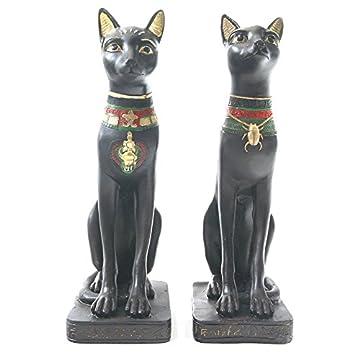 Par de egipcio Figura de gato estatua figura decorativa antiguo Egipto 3