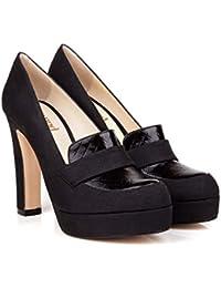 40ed05a5f0d2 Beyond Skin Vegan Shoes Lorna B Black Vegan Loafer High Block Heel Platforms