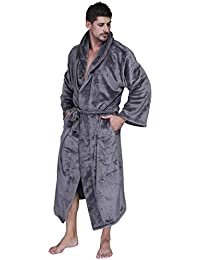 524207f5f0 GOMY Men Bathrobe with Hood Towelling Robe Extra Long Soft Fleece Dressing  Gown