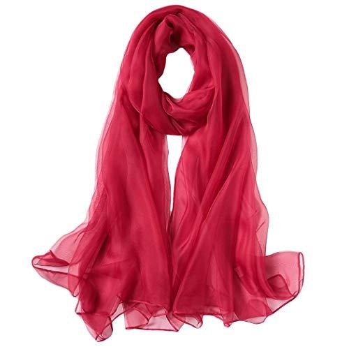 MISS&YG Strandtuch Überdimensionierte Feste Farbe Chiffon Sonnencreme Schal Weiblich Langen Schal,4,180Cm*120Cm -