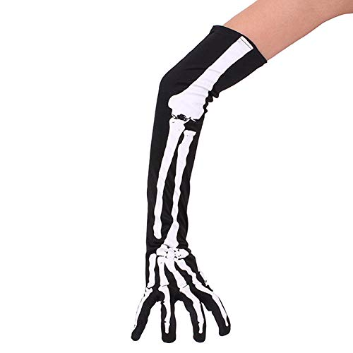 Hosaire 1 Paar Halloween Skelett Handschuhe Cosplay Requisiten Skeleton Muster Maskerade Karneval Festival Party Zubehör