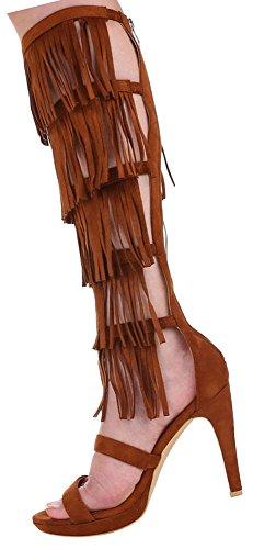 Damen Sandaletten Schuhe Pumps Fransen Camel 36 37 38 39 40 41 Camel