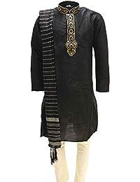 Krishna Sarees MKP9005 Schwarz und Elfenbein Herren Kurta Pyjama Indian Suit Bollywood Sherwani
