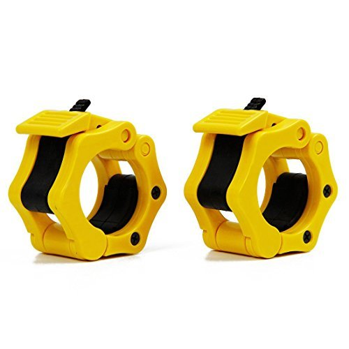 TNP Accessories(™) Olympic Jaw Barbell and Dumbbell Bar Lock Clips Collars Set (Pair) (Yellow)
