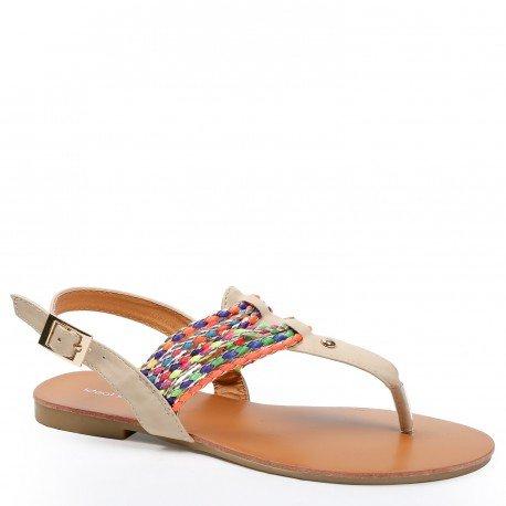 Ideal Shoes - Sandales plates avec lanières tressées et colorées Maiane Beige