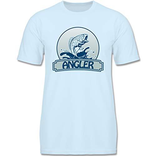 Sport Kind - Angler Button - 152-164 (12-14 Jahre) - Babyblau - F140K - Jungen T-Shirt
