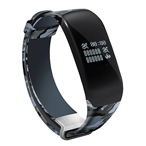 Lemumu Schwimmen Übung Hheart Herzfrequenz Messgerät Schritt wasserdicht Ring Camouflage Gurt intelligente Hand Ring Schickes Armband, Blau -