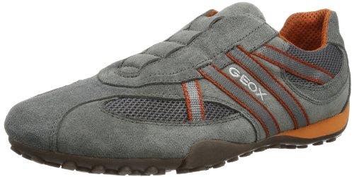 Geox U Snake V, Sneaker Basse Uomo Multicolore (Dk Grey/Orange C0904)