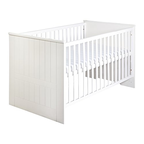 *roba Kombi Kinderbett 'Dreamworld 3', 70×140 cm, Babybett gefräst weiß, 3-fach höhenverstellbar, Baby- & Kinderbett umbaubar zum Juniorbett*