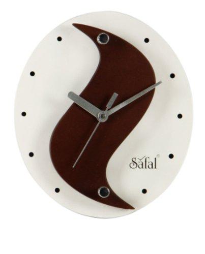 Safal Wooden Wall Clock (20.32 cm x 20.32 cm, Brown, SQ 3839)