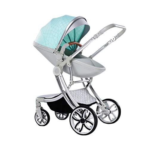 Kinderwagen Kinderwagen Hochbett mit doppeltem Verwendungszweck Kann sich hinsetzen Leicht und zweifach leicht mit einer Hand zusammenfalten Leichter Buggy ( Color : Green , Größe : 22*13*8 inches )