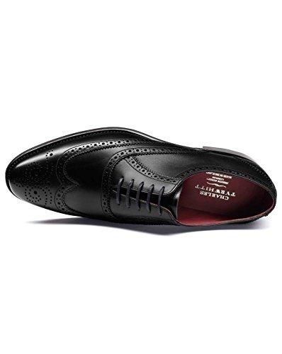 Chaussures Oxford Ashton noires en cuir de veau avec bout fleuri Noir