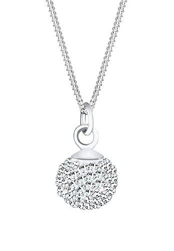 Elli Damen Echtschmuck Halskette mit Kugel Anhänger Klassisch mit Swarovski Kristallen weiß in 925 Sterling Silber - 45cm Länge