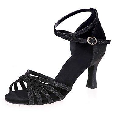 XIAMUO Nicht anpassbar - Die Frauen tanzen Schuhe funkelnden Glitter funkelnden Glitter Latein Sandalen entzündete Ferse Leistung/Praxis/IndoorBlack/ Blau
