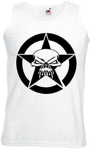 Hotrod Athletic Vest Shirt Motivt US Army Stern mit Skull Tolles für Us Car und Hot Rod FansTank Top, Trägershirt, Muskelshirt Weiß / Schwarz