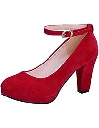 Luckycat Mujer Boca Baja Cuero De Nubuck Tacones Altos Zapatos Color del  Encanto De Fina Tacón Alto… cc8db2cdf603