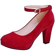 Luckycat Mujer Boca Baja Cuero De Nubuck Tacones Altos Zapatos Color del Encanto De Fina Tacón
