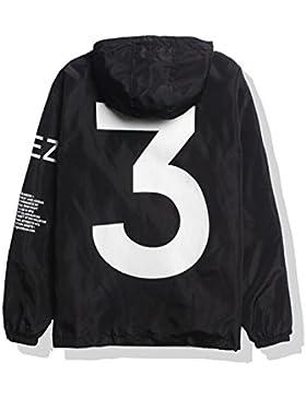SOTEER Windbreaker Coole Jacke Mit Kapuzen Streetwear Unisex Damen Herren Jungen Mädchen Reißverschluss Cool Schwarz...