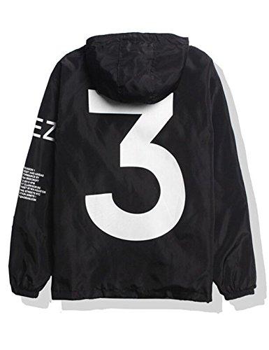 SOTEER Windbreaker Coole Jacke Mit Kapuzen Streetwear Unisex Damen Herren Jungen Mädchen Reißverschluss Cool Schwarz Weiß