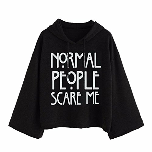 Sunnywill Lange Ärmel Brief drucken Hooded Sweatshirt Pullover Grau Top Bulsen für Mädchen Damen (Asien:M, Schwarz) (Sweatshirt Armee Hooded)