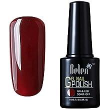 Esmalte Semipermanente de Uñas en Gel UV LED Esmalte de Uñas Soak off Color Rojo Burdeo Manicura 10ml de Belen - 011