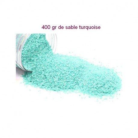 HOBI Sable décoratif coloré Bleu Turquoise, de 0,60mm à 1mm, Boite de 400gr, pour Déco de Table, Bougeoir, Vase