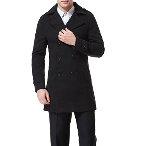 aowofs Men's Double Breasted Trench Coat Black Grey Blue Long Overcoat Slim Fit