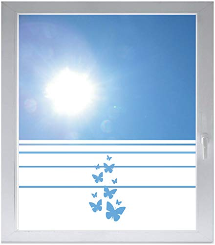 INDIGOS UG Sichtschutzfolie Glasdekorfolie Fensterfolie mit Motiv satiniert Blickdicht - w183 Schmetterlinge - 1200 mm Länge - 500 mm Höhe Streifen - Satiniert Mit Streifen